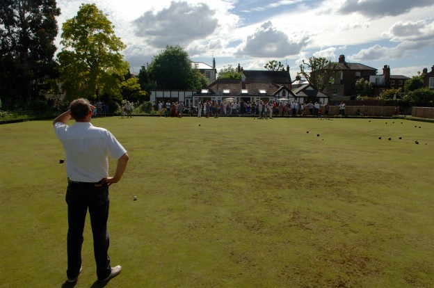 The bowling green and clubhouse