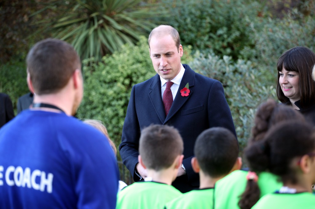 Prince William meeting local school children on his visit to Memorial Park